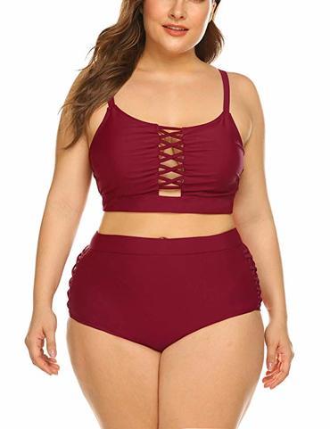 high waisted bikini apple plus size body