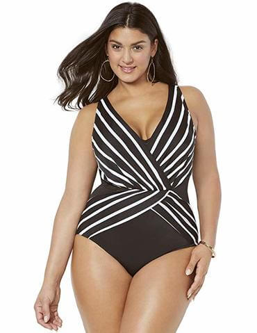 striped hourglass one piece for apple shaped plus size