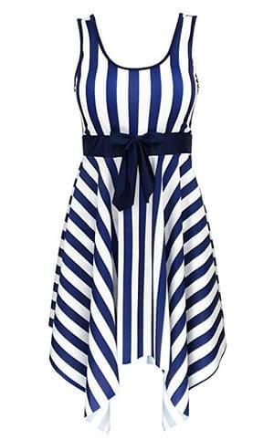 vertical stripe swimsuit for apple plus size